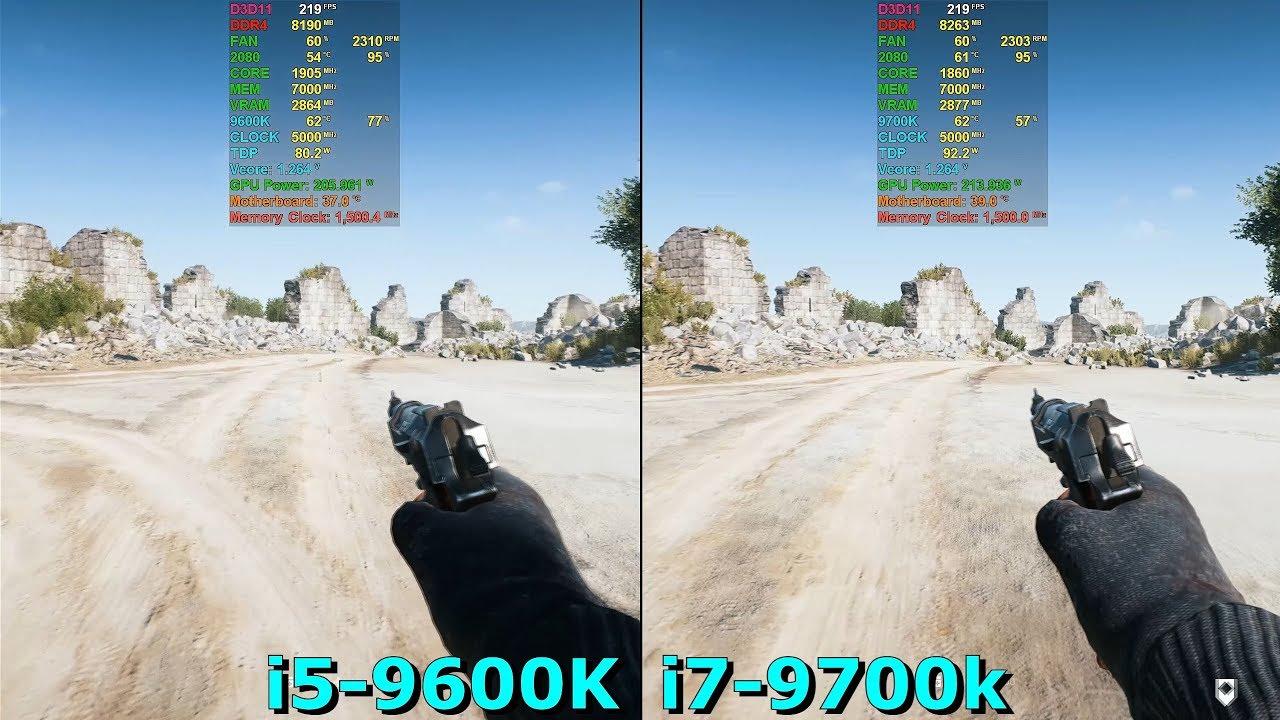 i5-9600K 5GHz vs i7-9700K 5GHz [ BF V - Crysis 3 - CS GO - Tomb Raider - AC  Origins ]