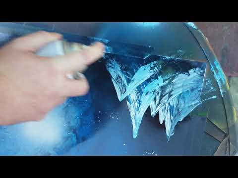 Spray Paint Art tutorial: basic mountain technique