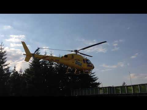 Odlet vrtulníku Aerospatiale AS355 LZS z Grand Prix Brno 2017