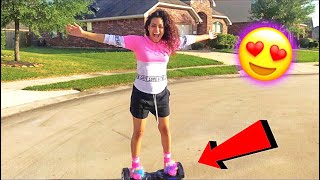 TEACHING MY GIRLFRIEND HOW TO RIDE A HOVERBOARD