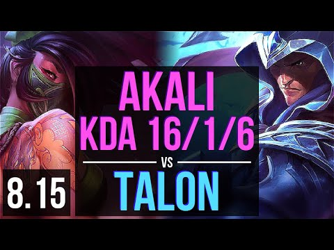 AKALI vs TALON (MID) ~ KDA 16/1/6, Legendary ~ Korea Challenger ~ Patch 8.15