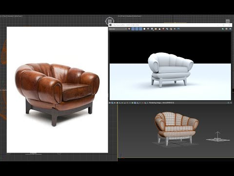 3dsmax model Luxury leather chair - quickly