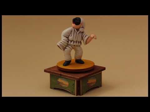 Carillon da collezione in legno - Pulcinella Ballerino, Melodia: FUNICOLI' FUNICOLA'