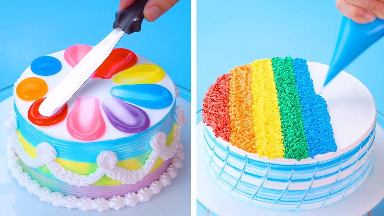 My Favorite Rainbow Cake Videos Homemade Easy Cake Design Ideas Easy Cake Decorating Hacks Youtube