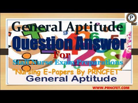 General Aptitude Question Answers For Staff Nursel Nursing Tutors | Multiple choice MCQ #PRNCFET
