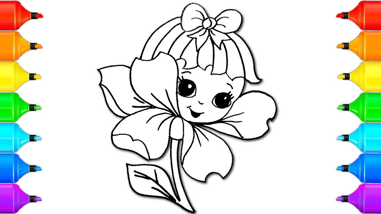 how to color and draw flower coloring painting pages kids song