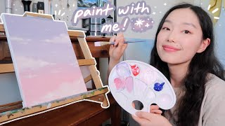 chilling & painting a cute dreamy cloudy sky with stars | painting with nina