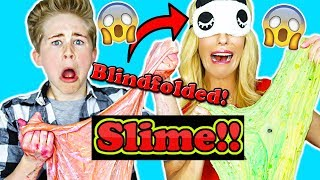 BLINDFOLDED SLIME ASMR CHALLENGE WITH REBECCA ZAMOLO!! | Casey Simpson