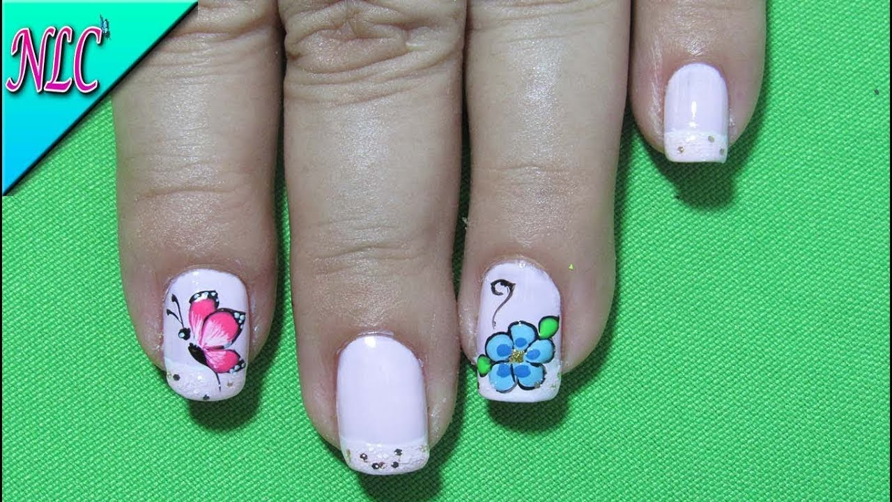 DECORACION DE UÑAS MARIPOSAS Y FLORES - BUTTERFLY & FLOWERS NAIL ART ...