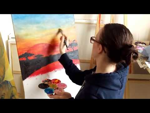 African Sunset painting. 1st part video. Acrylic painting.
