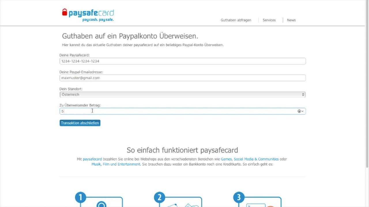 Paysafecard Guthaben Zu Paypal Einzahlen Tutorial German Youtube