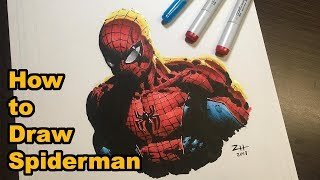 How to Draw Spiderman - Drawing Tutorial (Copic Markers and Ink)