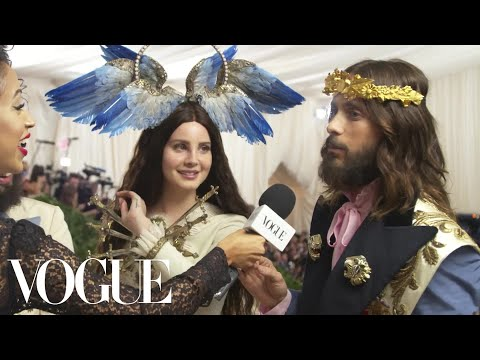 Lana Del Rey and Jared Leto on Their Gucci Ensembles   Met Gala 2018 With Liza Koshy   Vogue