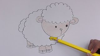 Dibujando y coloreando a Oveja - Drawing and coloring Sheep