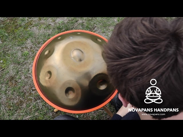 The Last Of The Mohicans on a 9 Note Handpan in D Kurd, Generation 3 in Gold   Novapans Handpans