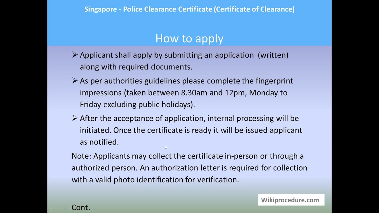 Singapore - Police Clearance Certificate (Certificate of