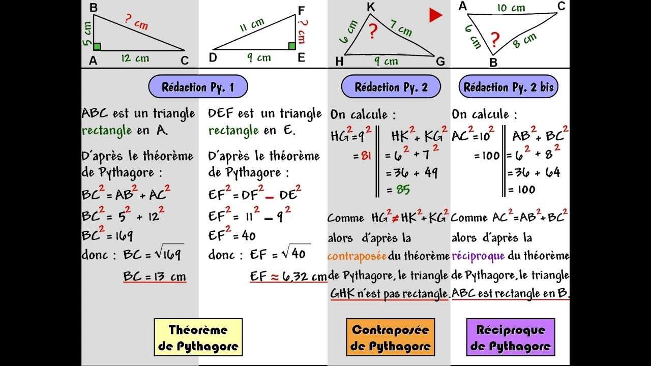 Théorème de Pythagore et sa réciproque - YouTube