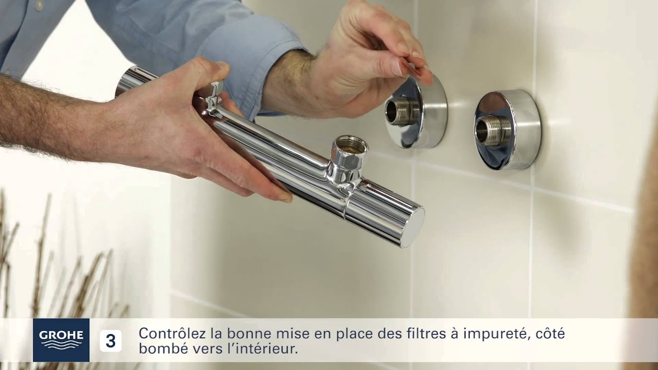 Grohe guide installation mitigeur thermostatique douche - Comment reparer un mitigeur thermostatique de douche ...
