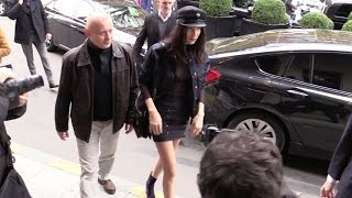 EXCLUSIVE: Very stylish Bella Hadid and her brother go have lunch at l'Avenue restaurant in Paris