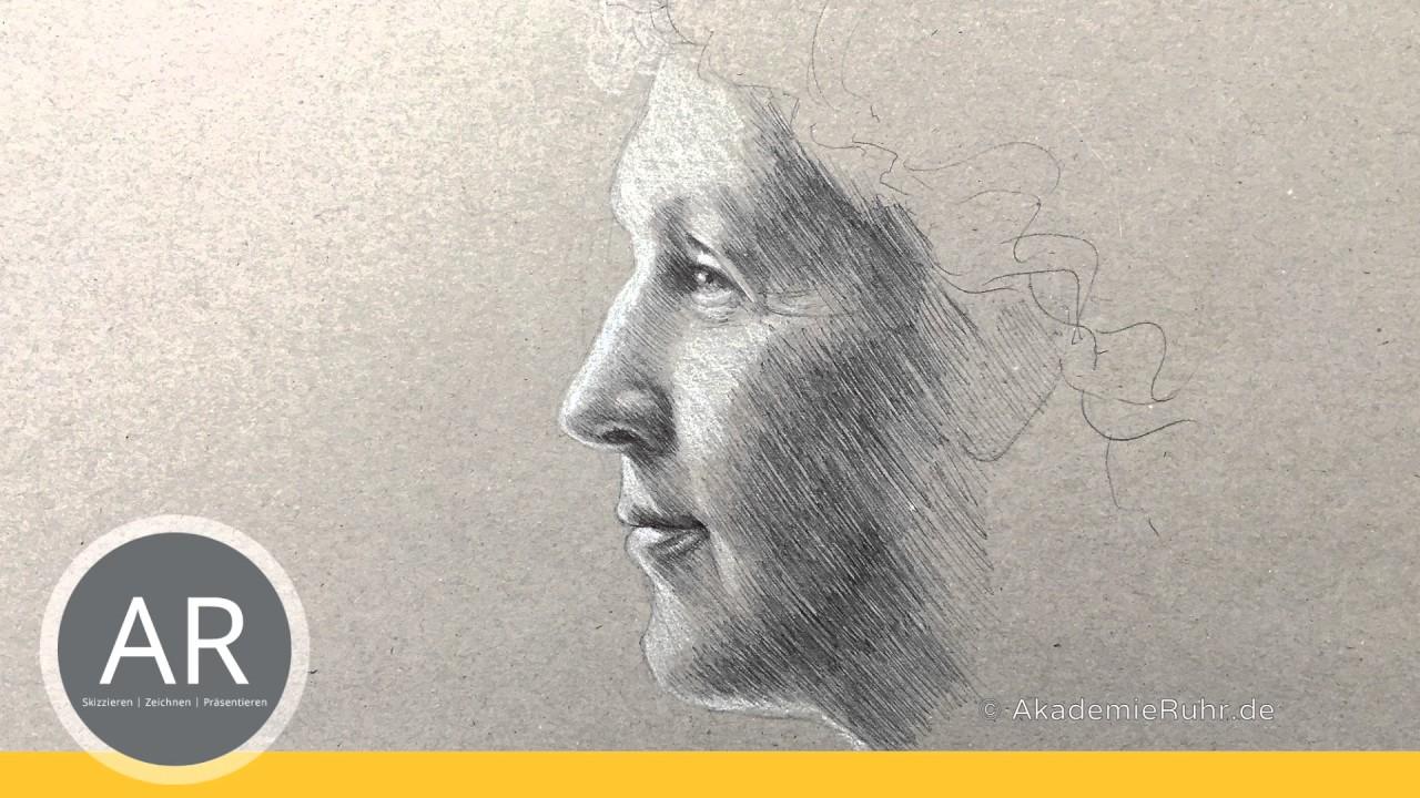 Portr t im profil zeichnen lernen gesichter malen for Sofa von der seite
