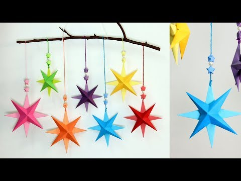 Christmas paper decoration | DIY 3d paper star wall hanging decoration ideas