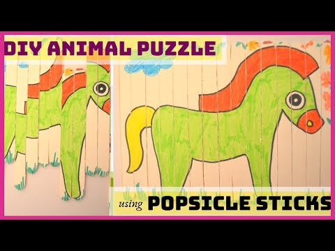 DIY ANIMAL PUZZLE GAME FOR KIDS I Popsicle stick craft