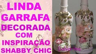 GARRAFA COM DECORAÇÃO INSPIRAÇÃO SHABBY CHIC