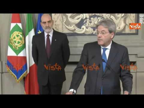 Nuovo Governo, il discorso integrale di Paolo Gentiloni