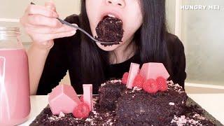 [MUKBANG] SOFT RICH MOIST GOOEY CHOCOLATE CAKE ~ RUBY KITKAT CHOCOLATE ~ HOMEMADE