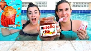 One of Cloe Breena's most viewed videos: TRYING FOOD UNDERWATER?! Vlognukkah Day 2