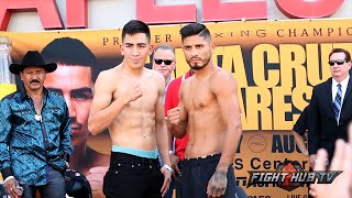Leo Santa Cruz vs. Abner Mares full video-Complete weigh in and face off
