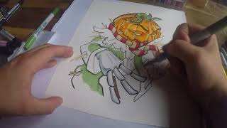 Halloween Pumpkin Drawing + Stickers