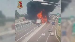 Tanker truck fireball engulfs road near Bologna