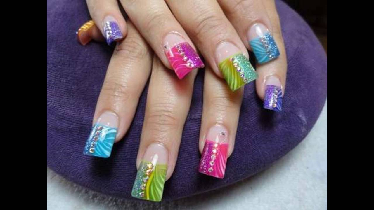 Modelos de Uñas decoradas acrilicas naturales - YouTube