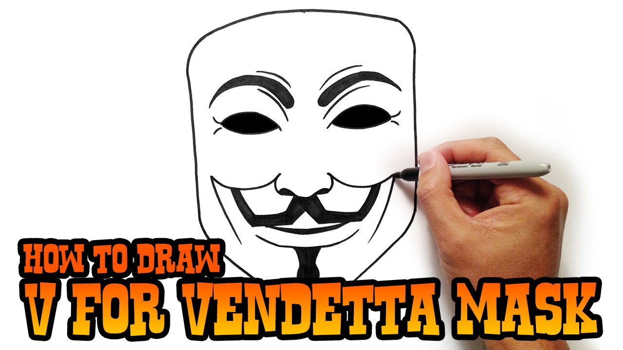 V For Vendetta Mask Drawing How to Draw V for Vendetta