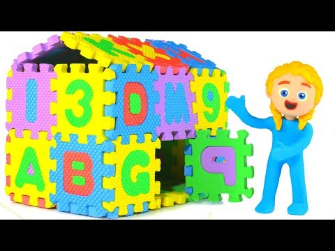 KIDS BUILDING AN ABC HOUSE 鉂� SUPERHERO PLAY DOH CARTOONS FOR KIDS