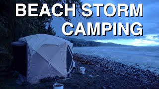 Camping On The Beach In A Huge Storm
