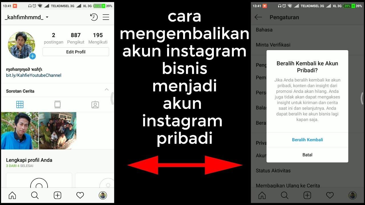 cara mengembalikan akun bisnis ke akun pribadi instagram