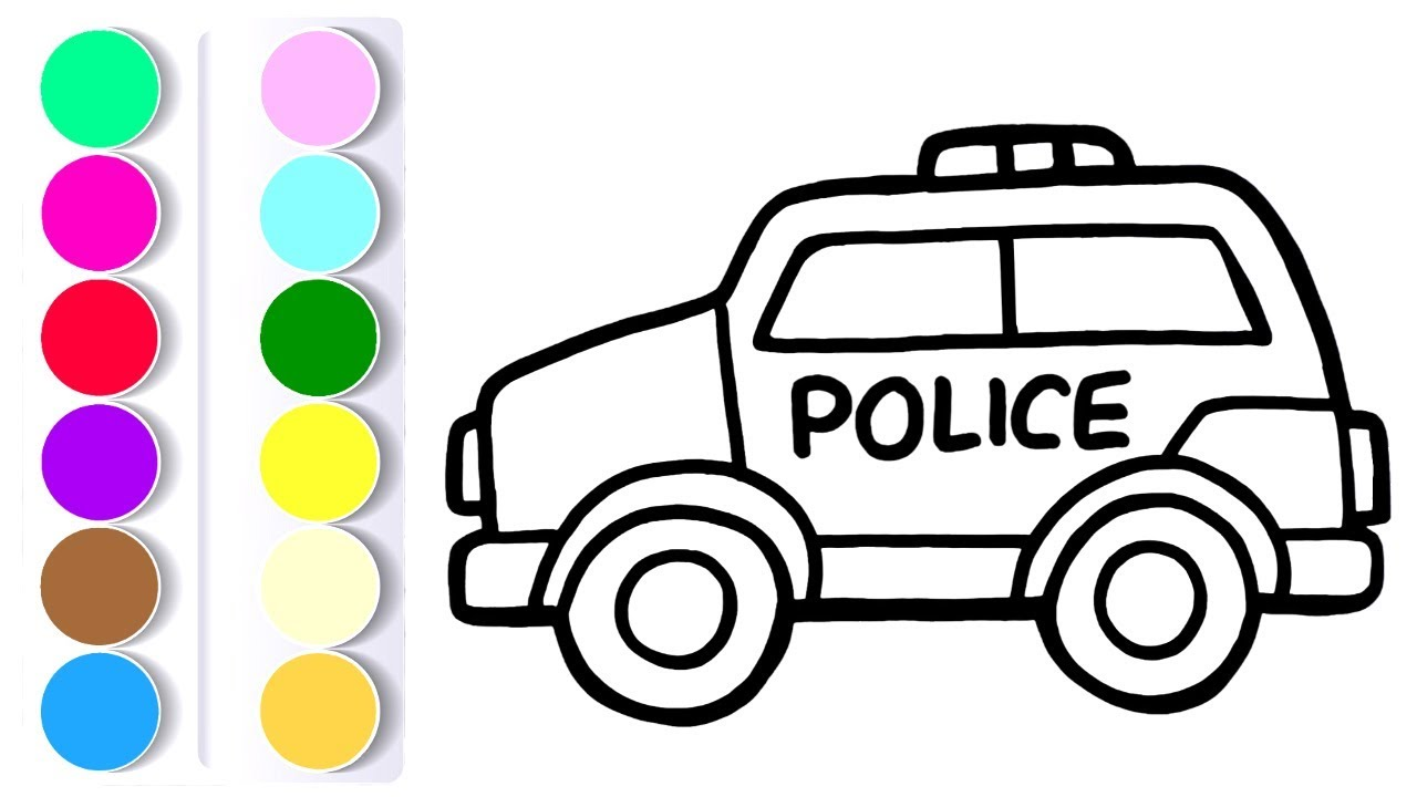 How to Draw a Police Car For Kids Coloring Pages For Children #1