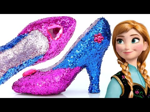 Thumbnail: DIY Frozen Anna Super Glitter Play Doh High Heels Disney princess Sparkle Play Doh Shoes Mighty Toys