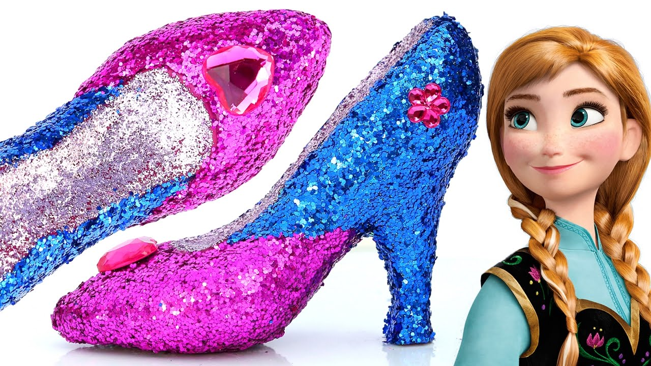 93d3ab1a142 DIY Frozen Anna Super Glitter Play Doh High Heels Disney princess Sparkle  Play Doh Shoes Mighty Toys