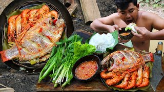 Cooking Shrimps,Fish eating with Noodle Salad & Hot Chili sauce  Cook Lobster bbq so delicious