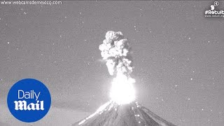 See Mexican volcano erupt four times in one night - Daily Mail