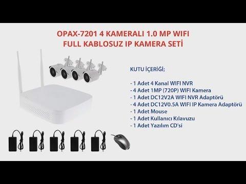 OPAX-7201 4 KAMERALI 1.0 MP WIFI FULL KABLOSUZ IP KAMERA SETİ