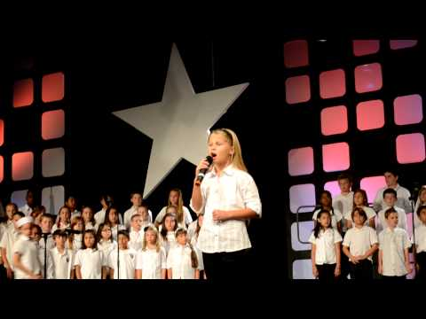 "Rancho Community Christian School Elementary and Kira Landis singing ""God Bless America Once More"""