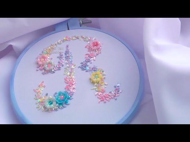 Embroidery: Monogram SEQUINS    Вышивка: Монограмма пайетками