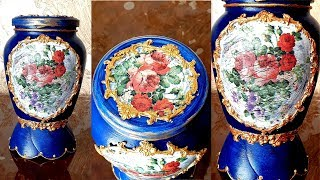 DIY/Decoupage glass jar /Crackled effect
