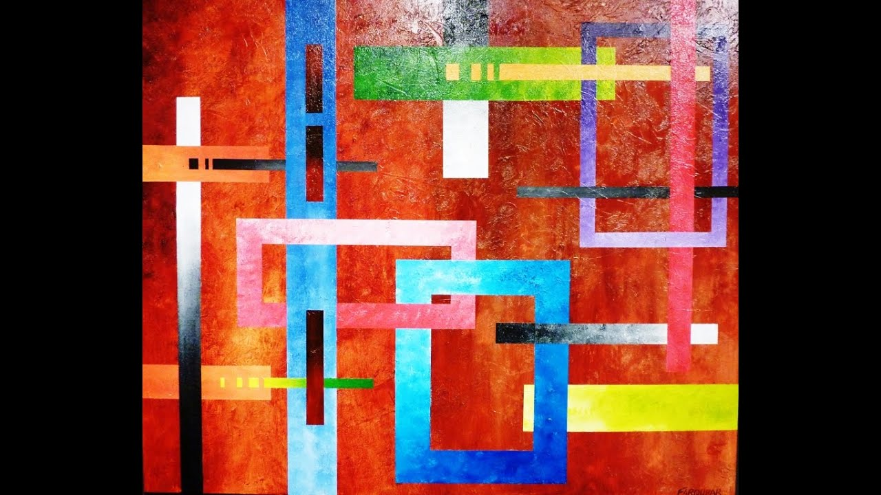 Geometric Abstract Art Lesson Preview How To Paint Large Texture Artworks