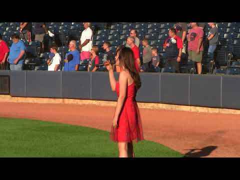 Ava Preston   Sings Nat'l Anthem at Akron Rubber Ducks  71918