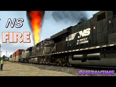 Train on fire - Norfolk Southern